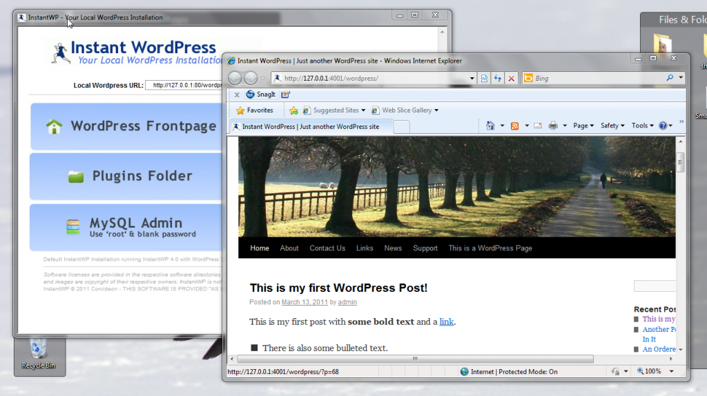 Interface Instant WordPress