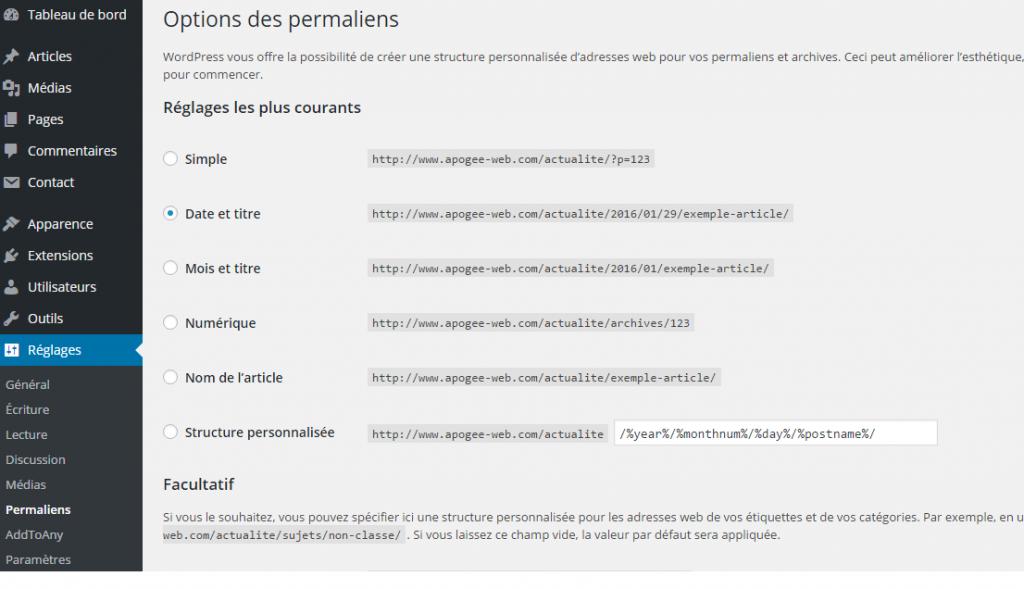 Réglages des permaliens dans WordPress